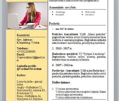 Užpildytas Administratorės CV pavyzdys.