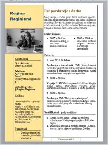 Užpildytas Pardavėjos CV pavyzdys