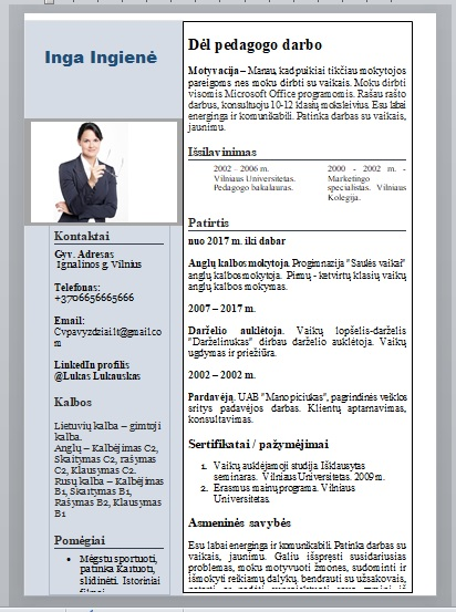 Mokytojo CV pavyzdys