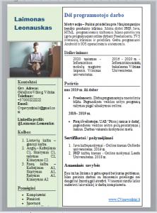 Paruoštas Programuotojo CV pavyzdys.