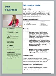 Užpildytas siuvėjos CV pavyzdys