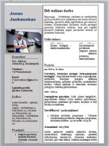 Pilnas staliaus CV pavyzdys