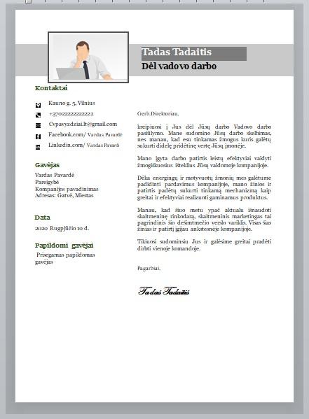 Užpildytas Vadovo motyvacinis laiškas