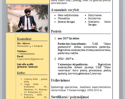 Pardavimų specialisto CV pavyzdys lietuviškai.