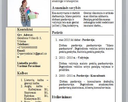 CV pavyzdys valytojai